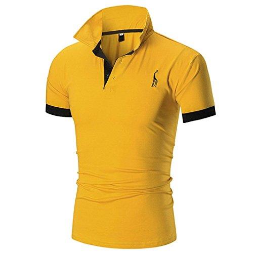 676bb54ea0 ... T-Shirt Herren Sommer Geschäft Premium Poloshirt Kurzarm Shirt  V-Ausschnitt T-Shirt Sport Muskelshirt Crop Tops Oberteile Basic Tops Herren  Slim Fit ...