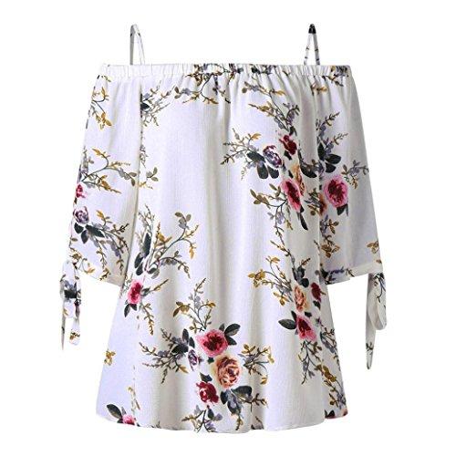 Overdose Mode Damen Sommer Schulterfrei Oberteile T Shirt Plus Size  Blumendruck Bluse Casual Tops Camis c033e1b616