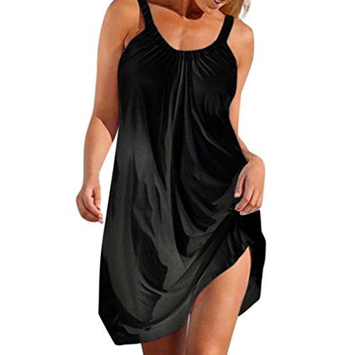 8138bc604e5db HCFKJ-Kleid, Damen Sommer Elegant 2018 Frauen Beiläufige Taschen-Sleeveless  Urlaub Solid Party Strandkleid über Knie-Kleid-Lose Partei-Kleid XL, Schwarz
